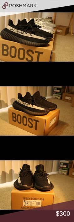 Adidas Yeezy Boost 350 V2 Core black Yeezy boost 350 V2 Core Black DEADSTOCK Brand new, Never worn  Comes in with a box and everything  Size 10 only one left ! Shoot me an offer if interested Leave a comment for my number Yeezy Shoes Sneakers