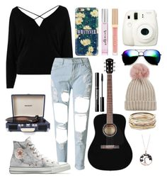 """x-- she wear short skirts I wear tee shirts --x"" by batman-lover-13 ❤ liked on Polyvore featuring River Island, Converse, Casetify, Kate Spade, Stila, Jocelyn, Fuji, ZeroUV, Kendra Scott and Crosley Radio & Furniture"