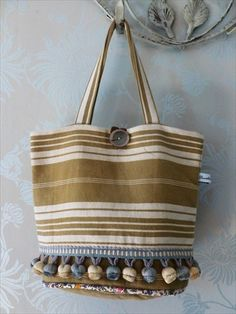 Pretty little bag with pompoms, shabby chic,  vintage French ticking. on Etsy, $18.00