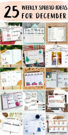 Minimalist Bullet Journal Weekly Spread Method Inspo - Bullet Journals For Students Bullet Journal Weekly Spread Layout, Shooting Star Wish, Happy December, Holly Wreath, Bubble Letters, Draw On Photos, Holly Leaf, New Theme, Layout Inspiration