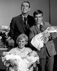 "Vintage photo of Fred MacMurray, Don Grady, & Tina Cole in ""My Three Sons"" with the triplets... JamesAZiegler.com"