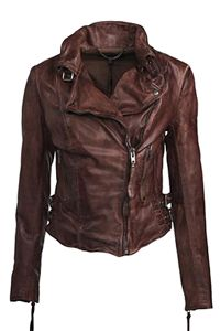 Brown. Distressed. Crumpled leather jacket.