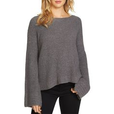 1.state Bell Sleeve Sweater (£72) ❤ liked on Polyvore featuring tops, sweaters, pewter heather, sleeve top, flared sleeve sweater, stitch sweater, bell sleeve sweaters and bell sleeve tops
