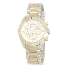"""Two tone metal band boyfriend style watch featuring a 1 1/2"""" nautical style watch face."""