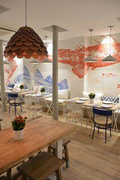 Home Decoration For Wedding Referral: 5929842323 Seafood Restaurant, Restaurant Design, Restaurant Ideas, Bar Interior, Interior Design, Fish And Chip Shop, Lokal, Japanese Interior, Restaurant Furniture