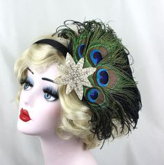 Peacock Feather Fascinator, Black Feather Fascinator, Peacock Headband, Silver Star, Great Gatsby, Flapper Costume, Halloween Headpiece