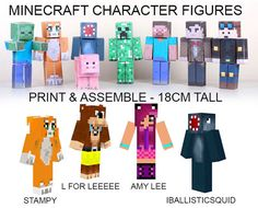 Minecraft Figures - Stampylongnose, L for Leeeee, Amy-Lee and iBallisticSquid . oh cool i see dantdm Minecraft Stampy, Minecraft Toys, Cool Minecraft, Minecraft Crafts, Minecraft Party, Minecraft Skins, Minecraft Printable, Minecraft Characters, Bookshelves Kids