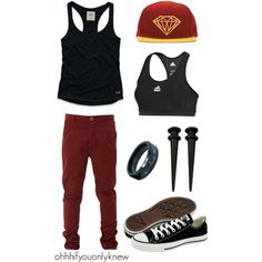 Untitled #152 by ohhhifyouonlyknew on Polyvore featuring Hollister Co., adidas, Converse, tomboy fashion, my creations, awesome, homo, tomboy, dyke and my style