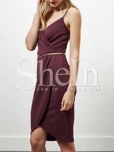 Burgundy+Spaghetti+Strap+Sheath+Dress+12.99