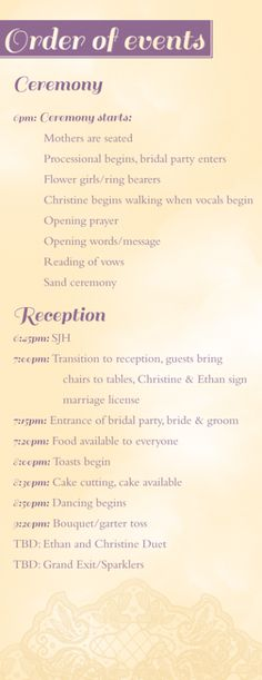 11 Best Wedding Order Of Events Images Wedding Ideas Wedding