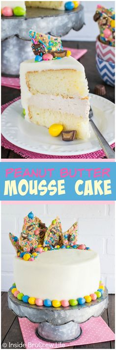 Peanut Butter Mousse Cake - layers of cake, peanut butter filling, and candy toppings make this a fun party cake recipe. Great dessert idea!