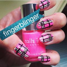 Pink tartan nails! Loved creating these and loved how they turned out!!