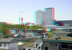 https://flic.kr/p/Gt9vtw | Rotterdam 3D | anaglyph stereo red/cyan      view from Parking Westblaak Rotterdam Erasmus Medisch Centrum