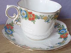 British Tea Cups | Antique tea cup set, vintage Aynsley English tea set, red and blue ... The colors are beautiful