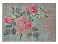 WOOL RUG WITH FLORAL PATTERN FLOWERS CANEVAS SPACES COLLECTION BY GAN BY GANDIA BLASCO | DESIGN CHARLOTTE LANCELOT