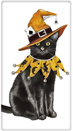 Black Cat Witch Halloween 100% Cotton Flour Sack Dish Towel Tea Towel