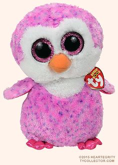 Glider (medium), Ty Beanie Boos penguin, reference information and photograph. All Beanie Boos, Beanie Boo Party, Ty Animals, Ty Stuffed Animals, Ty Teddies, Ty Boos, Ty Peluche, Rare Beanie Babies, Cute Beanies