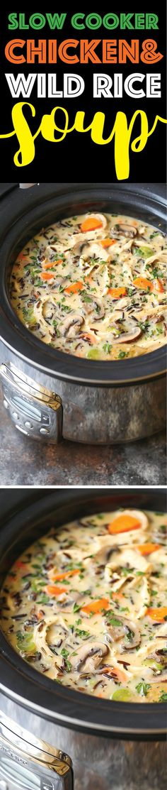 Slow Cooker Chicken and Wild Rice Soup - Pure creamy comfort food made right in your crockpot! So quick, easy, and hearty with veggies, rice and chicken!