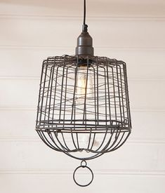 EGG BASKET PENDANT LAMP Wire Cage in Smokey Black Finish