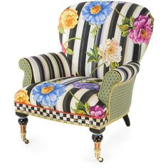 MacKenzie-Childs Cutting Garden Accent Chair (13.080 BRL) ❤ liked on Polyvore featuring home, outdoors, patio furniture, outdoor chairs, multi colors, garden furniture, outdoor garden furniture, garden patio furniture and garden chairs