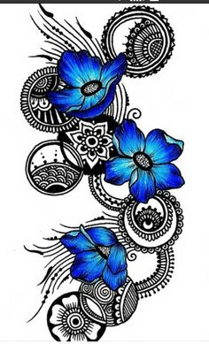 This would be a gorgeous tatoo. gorgeous doodle in black with circles . and three bright blue flowers . beautiful and dramatic . Jj Tattoos, Future Tattoos, Tatoos, Doodle Design, Doodle Art, Geniale Tattoos, Tatoo Art, Arm Tattoo, Pics Art