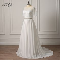 ADLN Plus Size Wedding Dresses with Sleeves New Style Modest Scoop A-line Chiffon Bridal Gown Lace-up Back
