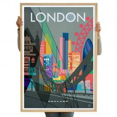 London II Limited Edition City Poster Art Print 70 x 100cm by Nicholas Girling Printspace