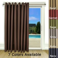 Check out the deal on Ultimate Blackout Patio Door Curtain Panel with Detachable Wand Handle at BedBathHome. Patio Door Drapes, Sliding Patio Doors, Types Of Window Treatments, Thing 1, Beautiful Curtains, Custom Drapes, Curtain Patterns, Velvet Curtains, House Windows