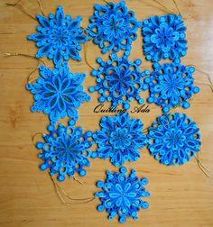 Stelute pentru bradut, in trei nuante de albastru , D=10cm