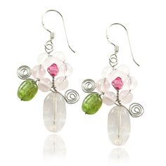 MGD, Light Pink Rose Quartz with Swarovski Element Flower / Floral Drop / Dangle Earrings, 925 Sterling Silver Earrings, Fish Hook Earrings, Handmade Fashion Jewelry For Women, Teens Girls, JA-0066E >>> Read more at the image link. (This is an affiliate link) #ILoveJewelry