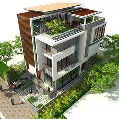 Modern Architecture House, Facade Architecture, Facade Design, Exterior Design, 3 Storey House Design, Modern Small House Design, Architect Design House, Modern Bungalow House, Architectural House Plans