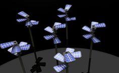 Sun flower, solar cell street lamp sans external power supplies