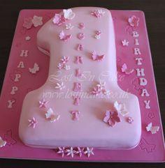 Pink Flowered Number 1 Shaped Cake