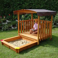 Great sandbox/playhouse. Playhouse platform slides to cover sandbox when not in use. Such a great idea! $379.99