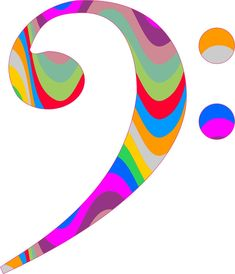 5in x 4.5in Colorful Swirl Pattern Bass Clef Vinyl Bumper Sticker Stickers Window Decal Decals