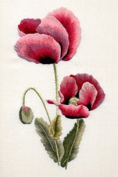 """""""In Flanders Field"""". In sympathy with the families of victims of the Las Vegas shooting. Hand Embroidery Stitches, Embroidery Needles, Free Machine Embroidery Designs, Crewel Embroidery, Cross Stitch Embroidery, Embroidery Patterns, Thread Painting, Brazilian Embroidery, Embroidered Flowers"""