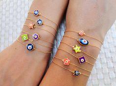 Neon evil eye bracelets by Handemadeit, $12.75
