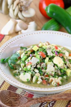 A fish-free version of a favorite dish throughout Latin America, this vegan Mushroom Ceviche uses two kinds of mushrooms for meaty texture and complex taste