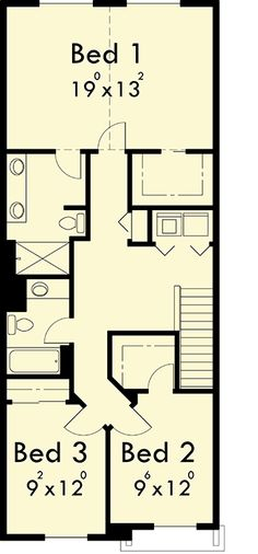 Upper Floor Plan for 10105 Narrow lot house plans, small house plans with garage, 3 bedroom house plans, 20 ft wide house plans, 10105 Town House Plans, Narrow Lot House Plans, Garage House Plans, Narrow House, Duplex Floor Plans, Cottage Floor Plans, House Floor Plans, Metal Building House Plans, House Plans 3 Bedroom
