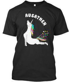 ausatmenyoga tshirtsportsbirth black t shirt front - Ausatmen Fans Usa