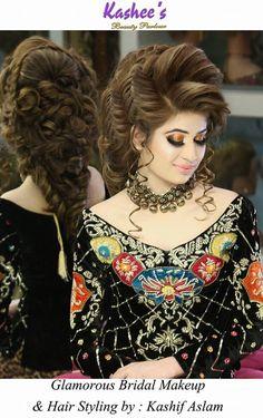 Pakistani bride Glamorous makeup n hairstyling by kashif aslam at Kashee's Pakistani Hair And Makeup, Pakistani Wedding Hairstyles, Pakistani Bridal Dresses, Bride Hairstyles, Hairstyles Videos, Weave Hairstyles, Bridal Looks, Bridal Style, Bridal Hair Inspiration