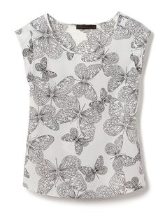 Butterfly Print Top #ButterflyPrintTop #TheLimited