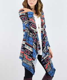 Another great find on #zulily! Navy & Coral Geo Open Cardigan #zulilyfinds