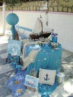 Christening Decorations, Baptism Party, Nautical Party, Baby Shower, Bar Mitzvah, Wedding Designs, Holiday Crafts, Birthday Parties, Ideas