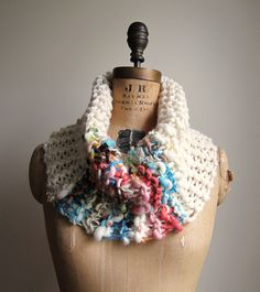 Bohemian knit cowl Cream. Turquoise. Salmon. by Happiknits on Etsy, $62.00