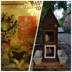 St. Paul, Minnesota. This Library is made from recycled pallet wood and is watched over by a tiny fairy librarian named Iris who has an office in the attic space. Her office lights are solar-powered and she enjoys decorating for the holidays.
