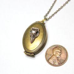 Tiny Bird Skull Double Locket Necklace