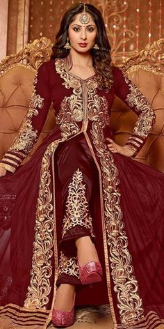 Striking Georgette Anarkali Suit In Brown Color.