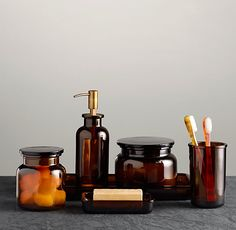 Pharmacy Accessories Amber Glass $25 - $79   Special $15 - $59  	  Once filled with colorful tinctures and remedies, accessories like these lined the shelves of European apothecaries in the 19th century. They've since found new purpose in the bath or other areas of the home to equally handsome effect.