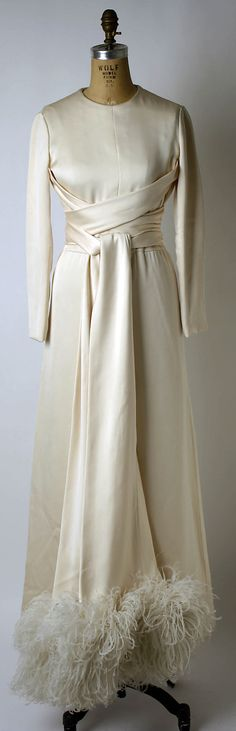 Timeless White Satin Evening Gown with Feathered Hem, by Valentino  (Italian, born )  c.1932